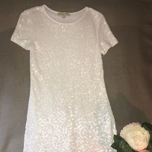 MICHAEL KORS White Sequin T-shirt (Mini) Dress, XS